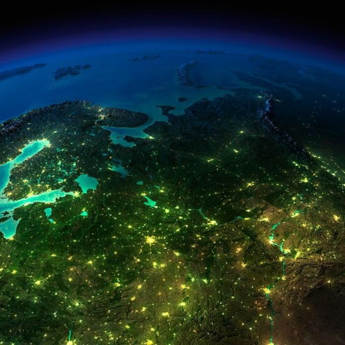 Земля ночью из космоса фото